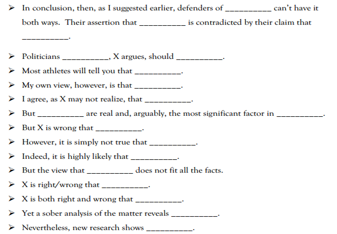 sentence starters for argumentative essays sentence starters ace matrix for critical thinking and writing open technology center how to begin an