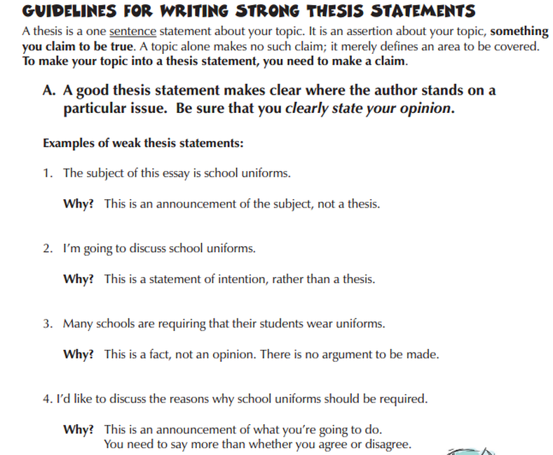 thesis statement for research paper on school uniforms Personal i think school uniforms are a great idea,but i'm not sure how to make my thesis statement because my english teacher said that it should not be three points thesis statement,and i'm not for sure how to start my essay{{how should my introduction paragraph be written}}.